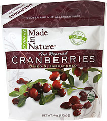 100% Certified Organic Dried Cranberries <p><strong>From the Manufacturer's Label:</strong></p><p>Made in Nature's Organic Cranberries are perfectly moist, sweet, and delicious. Each soft, chewy berry is naturally fat-free and cholesterol-free. They're perfect for cooking and baking, added to your favorite salads, or just straight out of the bag as a delicious snack.</p> 5 oz Bag  $7.99