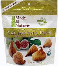 Organic Calimyrna Figs <strong></strong><p><strong>From the Manufacturer's Label: </strong></p><p>There's nothing as delectable as the taste of Made in Nature's Golden Delicious Calimyrna Figs. The soft tan Calimyrna figs have delicate skins and moist flesh, each one with just the right balance of sweet and nutty flavors. A perfect healthy snack any time, anywhere!<br /></p> 7 oz Bag  $9.99