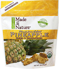Organic Dried Pineapple <strong></strong><p><strong>From the Manufacturer's Label:</strong></p><p>Each succulent morsel of Made in Nature's Organic Golden Pineapple is the perfect balance of sweet and tart flavor. Our juicy pineapples are nothing but real fruit and you can taste the difference. <strong><br /></strong></p><p><strong></strong></p> 3 oz Bag  $7.19