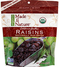 Organic Sun-Dried Raisins <strong></strong><p><strong>From the Manufacturer's Label: </strong></p><p>These Certified Organic sun-dried raisins begin their journey as the sweetest, plumpest grapes bursting with juice. These scrumptious raisins are the perfect snack to add a boost to any recipe, or to eat right out of the bag! </p><p>Dried right at the base of their vines until they reach their peak of sweetness, just the way nature intende