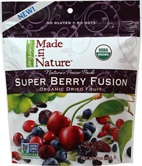 100% Organic Antioxidant Fusion Fruit Blend <strong></strong><p><strong>From the Manufacturer:</strong></p><p>Open a bag of Made in Nature Organic Antioxidant Fusion and you're in for an explosion of flavor! A mix of Organic tart cherries, blueberries, goji berries, cranberries, and raisins are bursting with goodness. And nothing adds a delicious and nutritious crunch like the beautiful pepita seeds. Enjoy this healthy blend as your daily on-the-go s