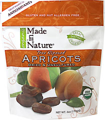 100% Certified Organic Dried Apricots <b><p>From the Manufacturer: </b></p> <p>Treat yourself to some tree-ripened, certified organic apricots that are full of flavor and nutrition. These Turkish apricots are thick, moist and perfect for a mid-day snack.  </p> <p>Buying Made In Nature Apricots ensures that you're getting the ripest, freshest, and most delicious product from season to season. Made in Nature works with a dedicated family of organic farmers