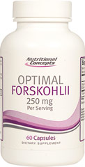 Coleus Forskohlii 125 mg Standardized Extract <strong>From the Manufacturer's Label:</strong> <p>Optimal Forskohlii™ is a proprietary blend of Coleus Foskohlii whole root powder & Root Extract (standardized to 10% forskohlin).</p> 60 Capsules 125 mg