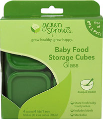 Baby Food Storage Cubes-Glass <p><strong>From the manufacturer:</strong></p><p>Store, freeze and serve homemade baby food</p><p>Includes stickers for labeling</p><p>Space saving stackable trays and nesting lids</p><p>Measurements on side for portion control</p><p>Glass has no dangerous effects on contents when heated or cooled</p> 1 Each  $8.99
