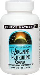 L-Arginine L-Citrulline Complex 750 mg / 250 mg <p><strong>From the Manufacturer's label</strong></p><p>L-Arginine and L-Citrulline are two amino acids bundled into a single  powerful supplement. L-Arginine is an important factor in muscle  metabolism and is a precursor for nitric oxide, which promotes increased  circulation by relaxing blood vessels.** L-Citrulline helps the body rid  itself of ammonia, a by-product of exercise.**</p><p>Manufactured
