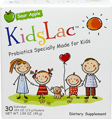 KidsLac™ Probiotics <p><strong>From the manufacturer:</strong></p><p>Sour Apple</p><p>Probiotics specially made for kids</p><p>Kids may frequently have digestive issues caused by an imbalance of good vs. bad bacteria in their digestive tract.  This is where a large percentage of the immune system resides.  Therefore probiotics can be your child's best friend when their system is being challenged.  </p><p>KidsLac™ contains five