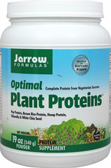 Optimal Plant Proteins Jarrow Formulas Optimal Plant Proteins is a vegan source of proteins and fibers.  Pea Protein, Organic Brown Rice Protein, Organic Hemp Protein, Golden Chlorella® and Chia combine to supply a complete plant-based amino acid profile along with natural fibers.  540 g Powder  $14.99