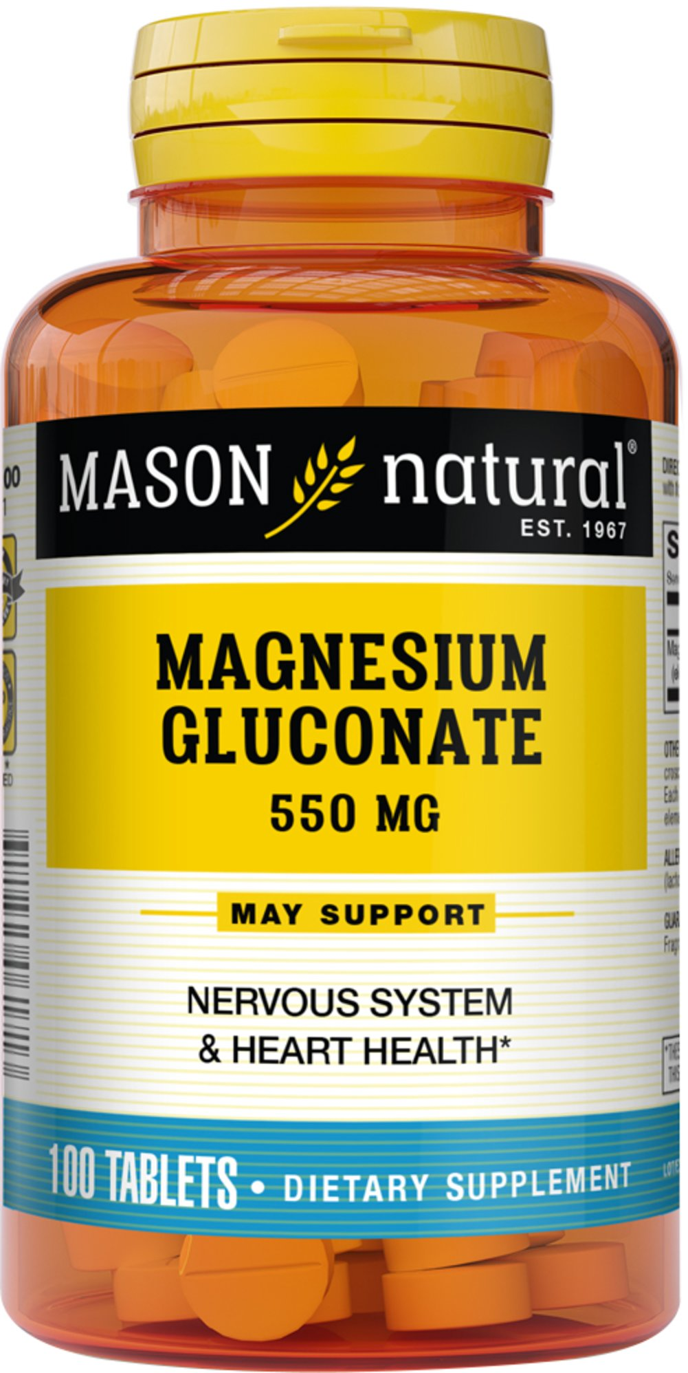 Magnesium Gluconate 550mg <p><strong>From the Manufacturer's Label</strong>:</p><p>Each 550 mg tablet of magnesium gluconate provides 30 mg of elemental magnesium.</p><p>Manufactured by Mason Naturals</p><p></p> 100 Tablets 550 mg $4.49