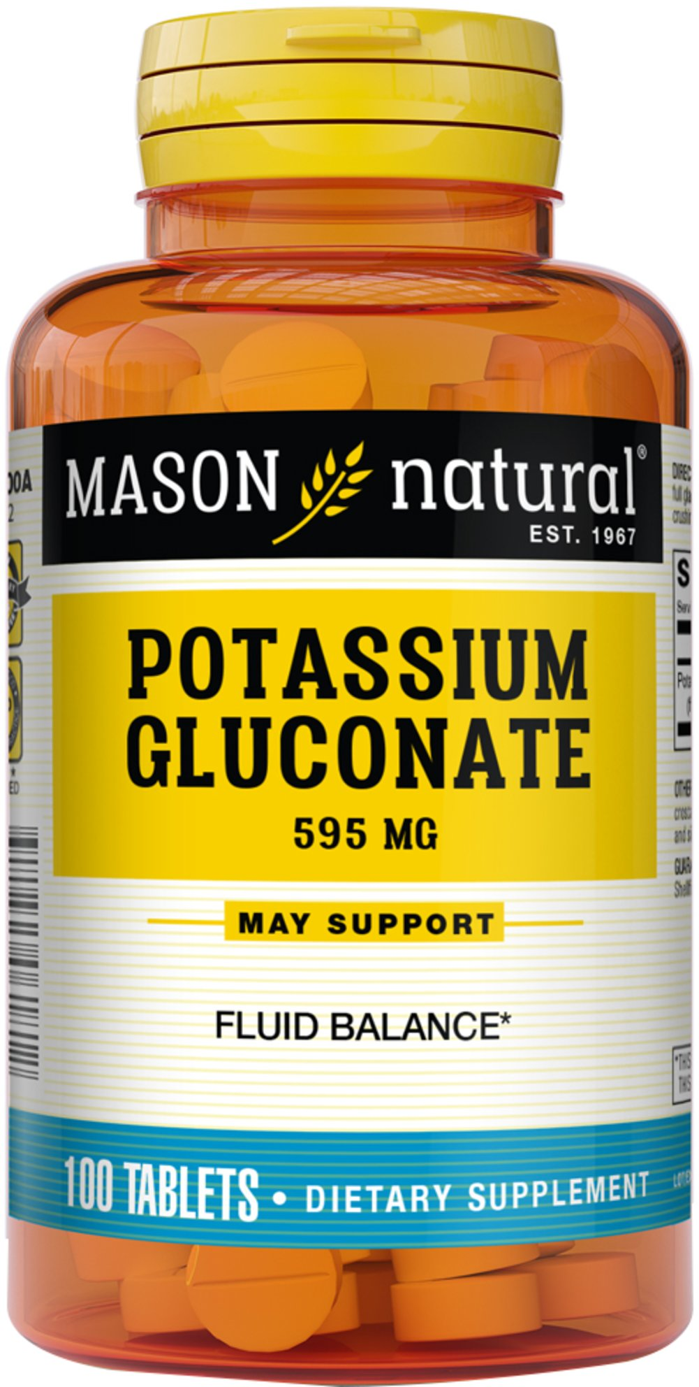 Potassium Gluconate 595 mg We are proud to bring you Potassium Gluconate 595 mg from Mason Naturals.  Look to Puritan's Pride for high quality national brands at the best possible prices. 100 Tablets 595 mg $4.49