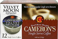 Velvet Moon Espresso Single Serve Coffee Cups <p><b>From the Manufacturer's Label:</b></p>  <p><b>Made from 100% Arabica Beans</b></p>  <p><b>Taste:</b> Rich, dark with a smooth finish..</p>   <p>Better taste less waste! Make better coffee in your single serve coffee brewer. Works in most popular single serve brewers, including Keurig®, Jaimbria™, Breville® BKC700, Cuisinart® SS700, Mr. Coffee®
