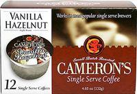 Vanilla Hazelnut Single Serve Coffee Cups <p><b>From the Manufacturer's Label:</b></p>  <p><b>Made from 100% Arabica Beans</b></p>   <p><b>Flavor:</b> Sweet, richly nutty flavor.</p> <p><b>Taste:</b> Smooth, rich vanilla and zesty hazelnuts.</p>  <p>Better taste less waste! Make better coffee in your single serve coffee brewer. Works in most popular single serve brewers, including Keurig&#17
