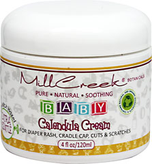 Calendula Cream Baby <p><b>From the manufacturer:</b></p><p>For diaper rash, cradle cap, cuts & scratches</p><p>Mill Creek® knows your baby's delicate skin needs relief.  The most important thing is to soothe and comfort.  Formulated with pure calendula and withch hazel, this cream will heal and relieve anything from dry skin to diaper rash. </p>  4 oz Cream  $8.99