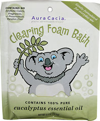 Clearing Foam Bath <p><strong>From the manufacturer:</strong></p><p>Make every bath a foam bath!</p><p>Gently formulated for everyday use, Aura Cacia's Clearing Foam Bath creates a purifying bath experience for your special ones.  The cleansing and uplifting blend of 100% pure eucalyptus and citrus essential oils is just what mom ordered!</p> 2.5 oz Powder  $2.49