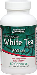 "White Tea Standardized Extract 500 mg White tea comes from the buds and leaves of the Chinese Camellia sinensis plant. The name """"white tea"""" derives from the fine silvery-white hairs on the unopened buds of the tea plant, which gives the plant a whitish appearance. Because white tea is derived from the Camellia sinensis plant, it contains polyphenols and catechins. These phytonutrients that are thought to be responsible for the tea's health benefits.  60 Capsules 500 mg $6.0"
