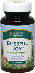 Blissful Joy <B>From the Manufacturer's Label:</b> <p>The Master Vaidyas of Maharishi Ayurveda, a complete system of Natural Healthcare.  Invigorates the mind and body.  Nourished the coordination between mind and body.  Helps uplift the emotions.  Synergistic combination of safe, effective, premium-grade, full potency herbs.</p> 60 Tablets  $22.77
