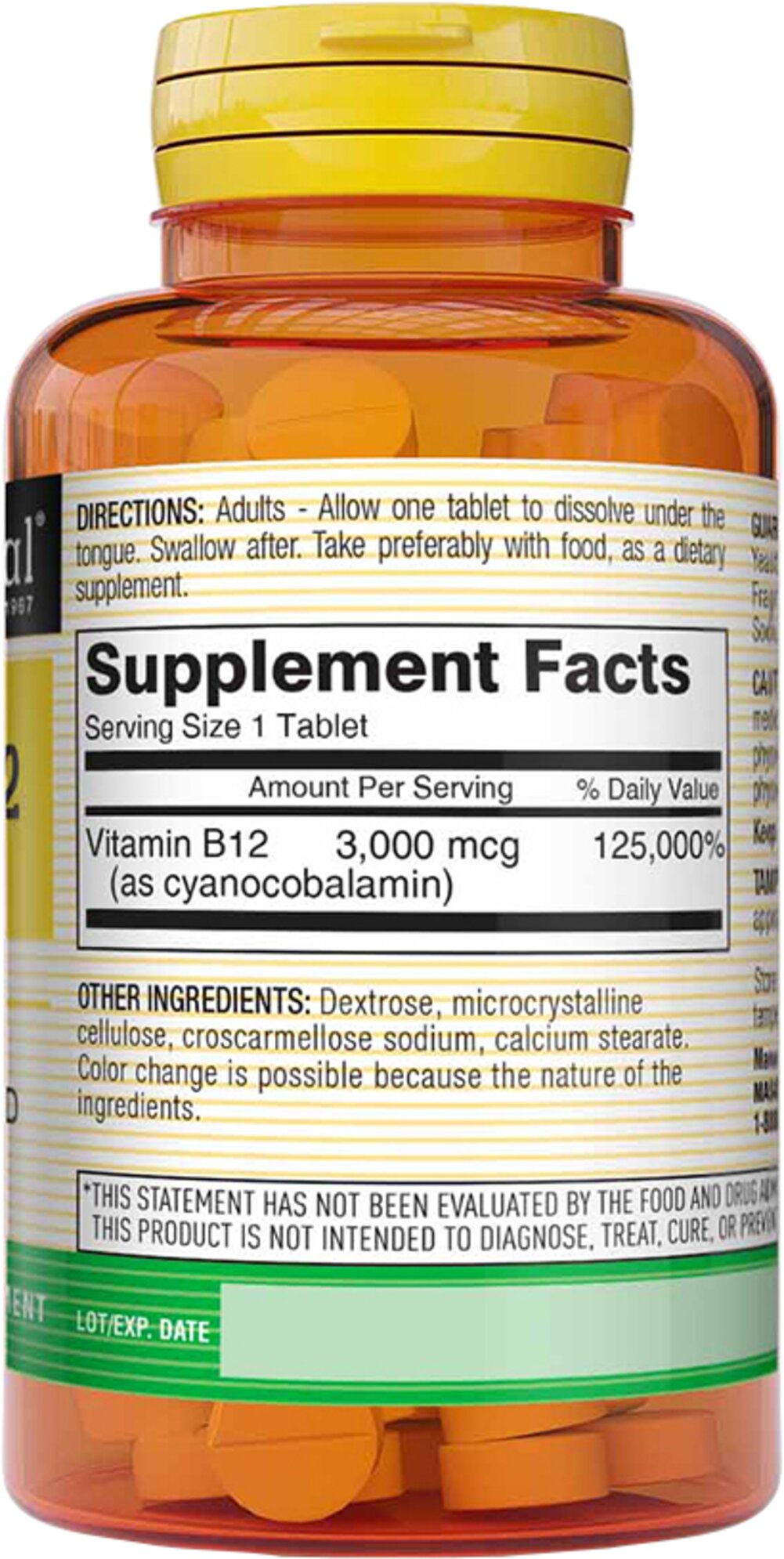Vitamin B-12 3000 mcg Sublingual <B>From the Manufacturer's Label:</B>  <P>Vitamin B-12 300 mcg from Mason is Sublingual and dissolves under tongue.</P>  100 Tablets 3000 mcg $7.99