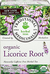 Organic Licorice Root Tea <p><strong>From the Manufacturer's Label:</strong></p><p>Naturally Caffeine Free Herbal Tea</p><p>The sweet earthiness of licorice is unmistakable. The licorice root is sustainably wild collected in this tea. That taste is sweet, rooty  and viscous. Distinctly licorice-y.<br /></p> 16 Tea Bags  $9.99