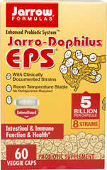 Jarro-Dophilus EPS® <p><strong>From the manufacturer:</strong></p><p>Enhanced Probiotic System</p><p>Room temperature stable - No refrigeration required!</p><p>Clinically documented organisms</p><p>8 strains</p><p>For intestinal** and immune health**</p><p>Enteric coated</p> 60 Capsules 5 billion $16.07