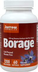 Borage 1000 mg <p><strong>From the manufacturer:</strong></p><p>1000 mg Gamma-Linolenic Acid per softgel</p><p>GLA is a cold pressed, hexane-free and stabilized oil from borage (Borago officinalis) seeds. <br /></p> 60 Softgels