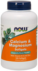 Calcium & Magnesium <strong>From the Manufacturer's Label:</strong> <p>Calcium & Magnesium Softgels contain Vitamin D and Zinc.  Manufactured by Now® Foods.</p> 120 Softgels  $9.99