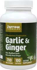 Garlic & Ginger <P><B>From the Manufacturer's label</B></P><P><P><B>Garlic & Ginger</B></P><P>Jarro-Gar™ Odor Modified Garlic.</P><P>Naturally Dried Organic Ginger.</P><P>This product contains the harmonious combination of garlic (Jarro-Gar™) and organic ginger.</P>  100 Capsules  $7.99