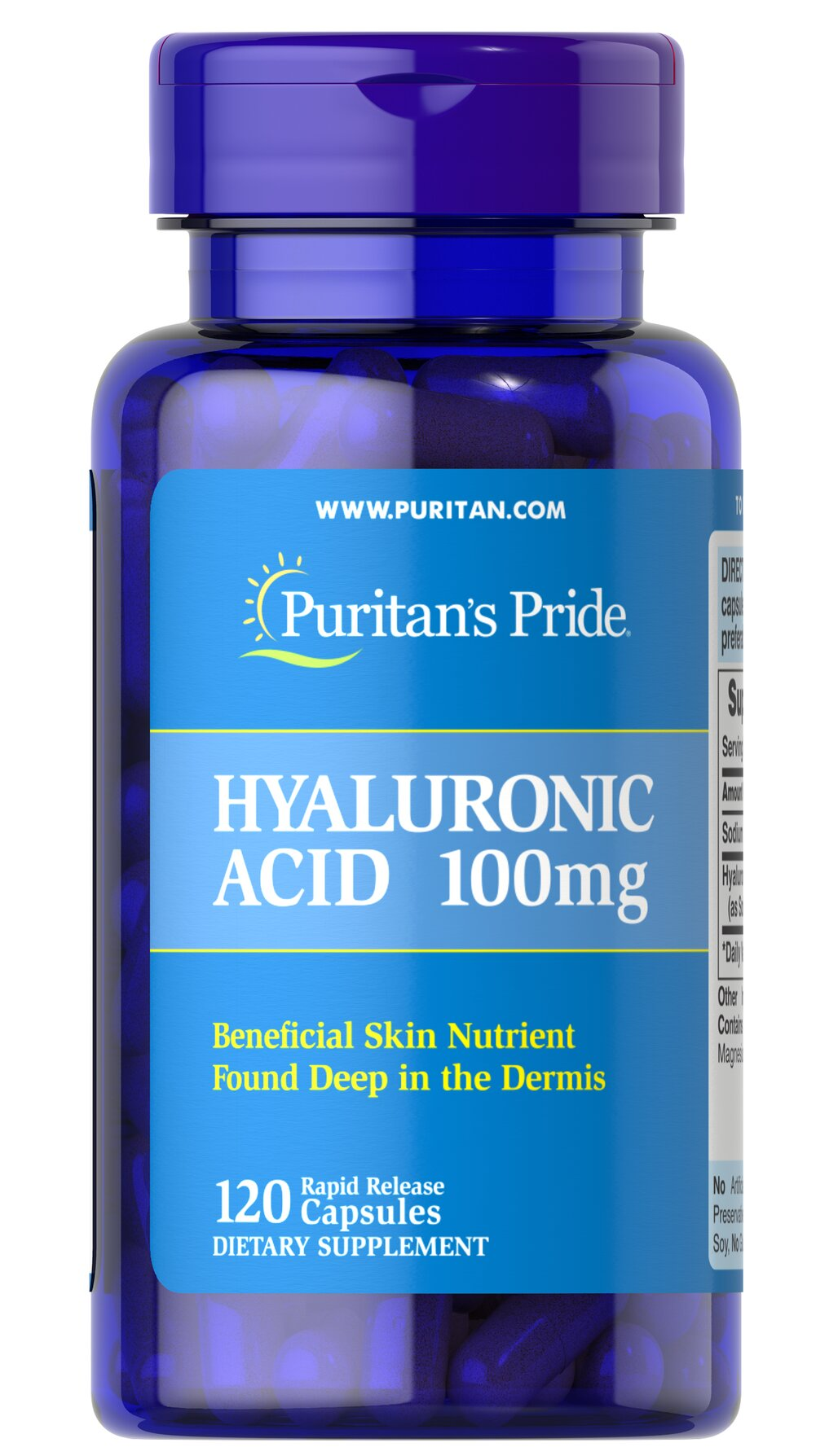 Hyaluronic Acid 100 mg <p>Helps lubricate joints**</p>   <p>Hyaluronic Acid is a polysaccharide found in almost all adult connective tissue, including joints, ligaments, tendons and skin.** Just one Hyaluronic Acid capsule a day can help maintain the fluid between your joints, providing the cushioning and lubrication necessary for easy movement.**</p> 120 Capsules 100 mg $65.59