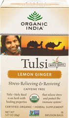 Organic Tulsi Holy Basil Lemon Ginger Tea <p><strong>From the Manufacturer's Label:</strong></p><p>The excitement of pungent ginger, accented with fresh lemon, is complemented by Tulsi's spicy flavor and energy. This exotic flavor combination will awaken your senses. <br /></p> 18 Tea Bags  $9.99