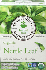 Organic Nettle Leaf Tea <p><b>From the Manufacturer's Label:</b></p> <p> Pharmacopoeial Quality Herb, Tested for Strength & Purity</p> <p> USDA Organic</p> <p> Caffeine Free</p> <p> 16 Wrapped Tea Bags</p>  <p>Nettle plants grow in the wild throughout much of Europe and North America and are now also grown on farms. Fresh pressed juice of the herb, and tinctures or tea infusions of the dried leaves are commonly