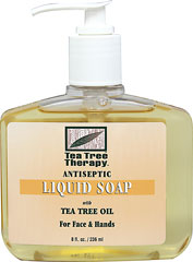 Liquid Soap with Tea Tree Oil for Face & Hands <strong>From the Manufacturer's Label:</strong><br /><br />Tea Tree Therapy Liquid Soap works gently without drying the skin, it leaves hands and face noticeably clean and feeling good.<br /><br />Manufactured by Tea Tree Therapy Inc. 8 oz Liquid  $4.49