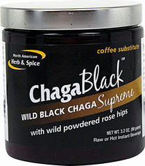 Chaga Black™ <B>From the Manufacturer's Label:</B><P>Chaga Black is the original wild forest coffee substitute.  Far more nutritous than coffee, it is a special concentrate of wild black chaga plus wild rose hips and birch bark.  A potent source of antioxidants, ChagaBlack has an exceptionally high ORAC value. It's a dense sourcwe of sterols, polyphenols, betulin, and betulinic acid, plus vitamin C from rose hips.  ChagaBlack is also a source for vital trace minerals su