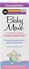 Baby Move <p><b>From the manufacturer:</b></p><p>Can help with occasional constipation**</p><p>Prune concentrate with prebiotics</p><p>Wellements Baby Move with Prebiotics is a natural and sweet tasting formula made with organic prune concentrate, that your baby will love.  It is designed with only the purest ingredients to ensure your baby's safety.</p>  4 fl oz Liquid  $7.99