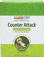 Counter Attack™ <p><strong>From the Manufacturer's label</strong></p><p>Counter Attack™</p><p>Herbal Prescriptives</p><p>Activate Immune Health</p><p>Fast-Acting Defense</p><p>Andrographis & Berberine</p><p>Herbal Supplement</p> 30 Tablets  $8.39