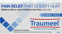 Traumeel® Combo Pack <P><B>From the Manufacturer's label</B></P><P>Traumeel® Combo Pack</P><P>Pain relief that doesn't hurt</P><P>Relieves minor joint and muscular pain, naturally</P><P>Homeopathic medicine</P><P>Package includes: Traumeel® tablets 100 ct, Traumeel ® ointment: 1.76 oz.</P>  1 Pack  $19.99
