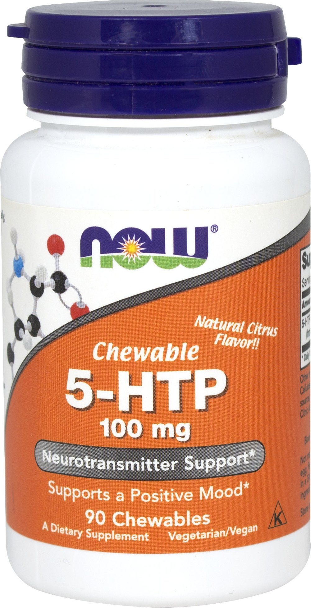 5-HTP 100 MG Chewable <P><B>From the Manufacturer's label</P><P>NOW® Foods Chewable 5-HTP,  the intermediate metabolite between the amino acid L-tryptophan and serotonin, is extracted from the bean of an African plant (Griffonia simplicifolia). NOW® Foods Chewable 5-HTP has a natural citrus flavor in a vegetarian formula.</P>  90 Chewables 100 mg $16.99