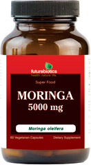 Moringa 5000 mg Super Food Moringa is considered to be one of the richest botanical sources of nutrients on earth.  In fact, nutrient-dense Moringa is often referred to as a super food or miracle plant, with virtually every part of the tree being of value.  Moringa is also a source of antioxidants and other naturally-occuring phytonutrients.  Futurebiotics Moringa is a 100% vegetarian supplement that provides 5000mg of premium Moringa leaves (from 100 mg 50:1 Moringa o