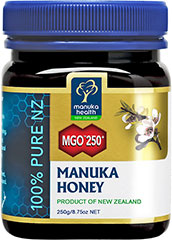 100% Pure Manuka Honey 250 MGO <p><strong>From the Manufacturer's Label:</strong></p><p><strong></strong>Manuka Honey is produced by bees that collect nectar from the Manuka Bush or Tea Tree native only to New Zealand. </p><p>MGO® Manuka Honey 250 is labeled based on the minimum Methylglyoxal content (mg/kg) it contains. Methylgyloxal has been scientifically proven to be the natural compound in manuka honey, responsible for its stabl