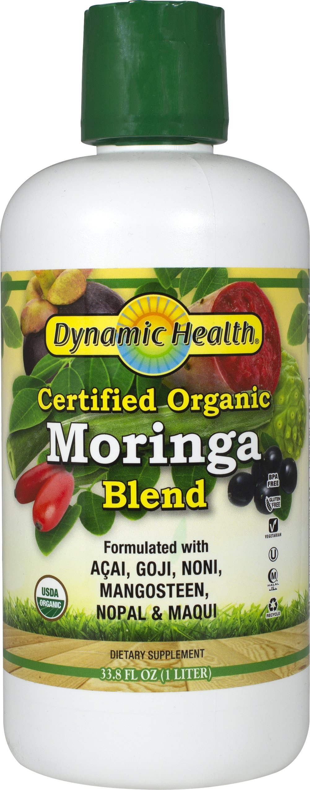 Organic Moringa Juice Blend <p><strong>From the Manufacturer's Label: </strong></p><p>Dynamic Health's Organic Moringa oleifera Juice Blend has natural energy boosting abilities.** The Moringa oleifera tree's leaves are nutrient dense in vitamins and minerals.** It is a tonic for good overall health.**</p><p>The antioxidant rich elixir offers the synergy of Certified Organic Maqui, Acai, Goji, Noni, Mangosteen and Nopal to promote healthy liv
