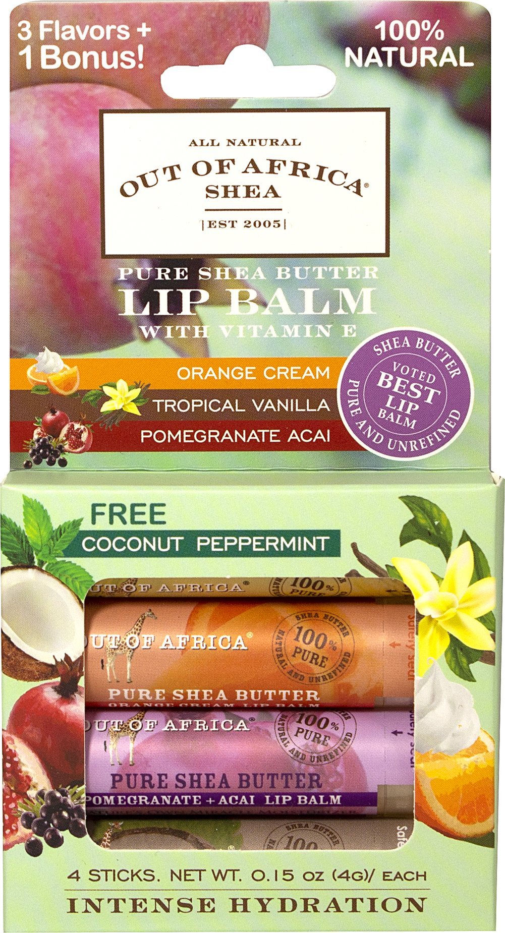 Shea Butter Lip Balm 4-Pack with Tropical Vanilla, Strawberrry, Orange Cream & Pomegranate Acai <p><strong>From the Manufacturer's Label:</strong><br /><br />The skin on your lips is very thin and does not produce oil on its own to keep them moisturized, so they become dry or chapped.  To prevent this condition, use our lip balm, which is loaded with beneficial nutrients including pure unrefined shea butter, healthy fatty acids and antioxidant vitam