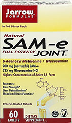SAM-e Glucosamine Joint Formula <p><strong>From the Manufacturer's Label:</strong></p><p>Promotes:<br />Joint Strength**<br />Mood and Brain Function**<br /><br />Jarrow FORMULAS® SAM-e JOINT™ provides a full 200 mg SAM-e (net yield) and 525 mg of glucosamine hydrochloride in every enteric-coated tablet.</p><p>SAM-e JOINT™ is manufactured under low temperature and low humidity and is enteric-coated to ensure a biologicall