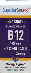 Vitamin B-12 Cynacobalamin 1,000 mcg with Vitamin B-6 2 mg & Folic Acid 400 mcg Microlingual <p><strong>From the Manufacturer's Label: </strong></p><p>Our Instant Dissolve MicroLingual® Tablets may be small but they are full potency!  Typical tablets and capsules need to be swallowed and are inefficiently absorbed in the digestive system.  MicroLingual® tablets dissolve immediately under the tongue, heading straight into the body.