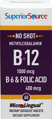 Vitamin B-12 Methylcobalamin 1,000 mcg with Vitamin B-6 2 mg & Folic Acid 400 mcg Microlingual  60 Tablets 1000 mcg/400 mcg