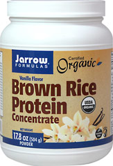 Brown Rice Protein Concentrate Vanilla <strong>From the Manufacturer's Label:</strong><br /><br />Jarrow Formulas Brown Rice Protein Concentrate, made from whole grain organic brown rice, is easily digested, gluten-free, hypoallergenic, and a vegetarian/vegan source of protein.  A special milling step produces a smooth texture that mixes easier and is less gritty than traditional rice protein preperations.<br /><br />Manufactured by Jarrow Formula