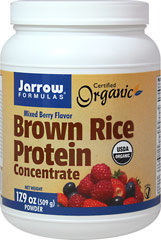 Brown Rice Protein Concentrate Mixed Berry <strong>From the Manufacturer's Label:</strong><br /><br />Jarrow Formulas Brown Rice Protein Concentrate, made from whole grain organic brown rice, is easily digested, gluten-free, hypoallergenic, and a vegetarian/vegan source of protein.  A special milling step produces a smooth texture that mixes easier and is less gritty than traditional rice protein preparations.<br /><br />Manufactured by Jarrow For