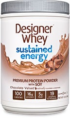 Sustained Energy Premium Protein Chocolate Velvet From the Manufacturer's Label<br /><br />Designer Whey ® Sustained Energy™ is designed for your active lifestyle and specifically formulated with our proprietary Endurance Blend™, which contains premium whey, soy and casein proteins, to give you healthy and sustained energy during the day to meet the needs of your active, demanding life.<br /><br />Manufactured by Designer Whey® 1.5 lbs Powder  $18.99