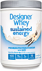 Sustained Energy Premium Protein Vanilla Bean From the Manufacturer's Label<br /><br />Designer Whey ® Sustained Energy™ is designed for your active lifestyle and specifically formulated with our proprietary Endurance Blend™, which contains premium whey, soy and casein proteins, to give you healthy and sustained energy during the day to meet the needs of your active, demanding life.<br /><br />Manufactured by Designer Whey® 1.5 lbs Powder  $18.99