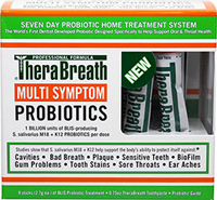 Multi Symptom Probiotics <p><strong>From the Manufacturer: </strong></p><p>Thera Breath Multi-Symptom Probiotics contain 1 Billion units of BLIS-producing S. Salivarius M18 and K12 Probiotics per dose. Seven day probiotic home treatment system.<br /></p> 9 Count  $16.99