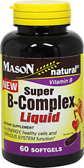 Super Vitamin B-50 Complex Liquid <p><strong>From the Manufacturer's Label:</strong><br /><br />For Energy, Healthy Cells and Nervous System function**<br /><br />Manufactured by Mason Natural®</p><p></p> 60 Softgels  $11.99