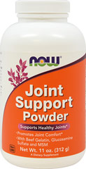 Joint Support Powder with Gelatin, Glucosamine & MSM <p>From the Manufacturer's Label:</p><ul><li>Supports Healthy Joints </li><li>Promotes Joint Comfort**</li><li>With Gelatin, Glucosamine Sulfate & MSM<br /><br />Joint Support Powder is a combination of ingredients that help to support the formation and function of healthy joint tissue. This product has Hydrolyzed Beef Gelatin, which consists primarily of collagen that