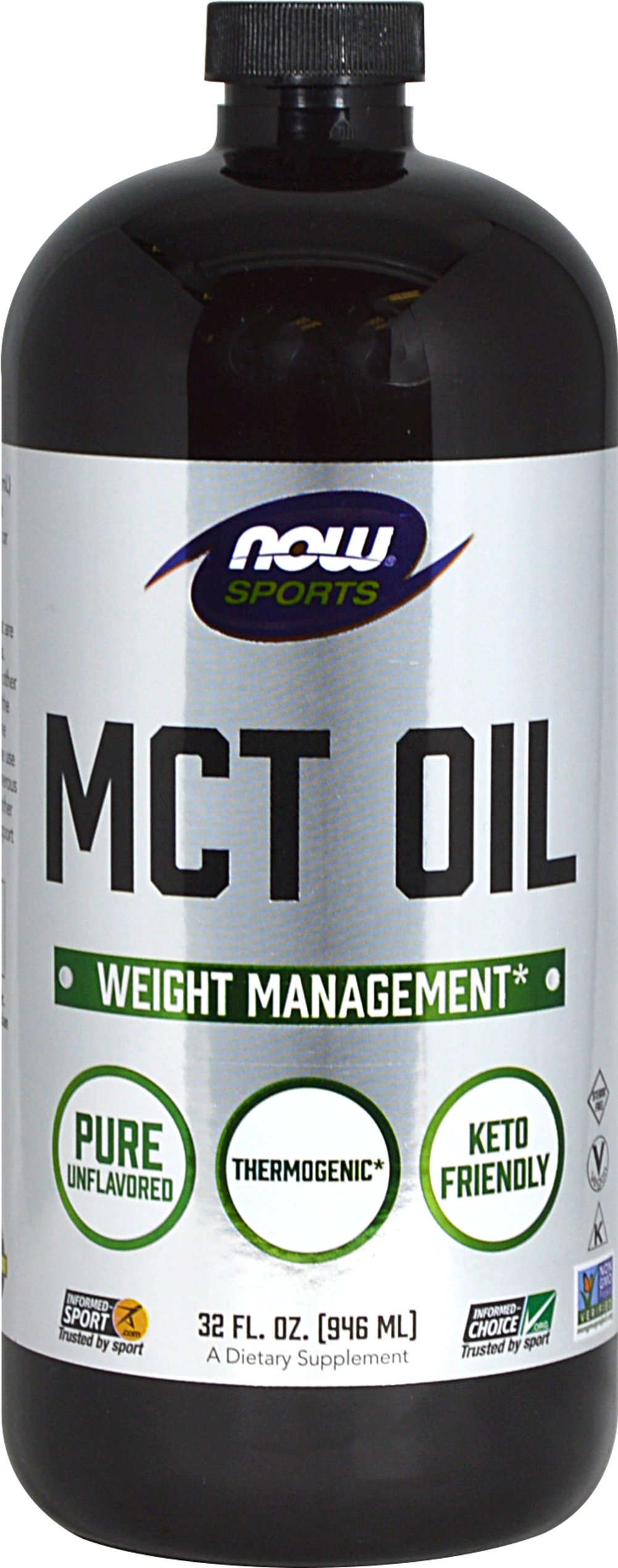 MCT Oil From the Manufacturer's Label:<br /><br />Medium Chain Triglycerides (MCT's) are fats that are naturally found in coconut and palm kernel oil.  MCT's are more easily and rapidly digested than other types of fats, as they require lower amounts of enzymes and bile acids for intestinal absorption.<br /><br />Manufactured by NOW® Foods. 32 fl oz Liquid  $19.99