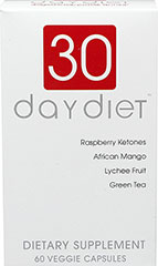 30 Day Diet™ <p>From the Manufacturer's Label:</p><ul><li>Raspberry Ketones</li><li>African Mango</li><li>Lychee Fruit</li><li>Green Tea</li></ul><p>30 Day Diet™ is manufactured by Creative Bio Science.</p><p></p><p></p> 60 Vegi Caps  $19.99